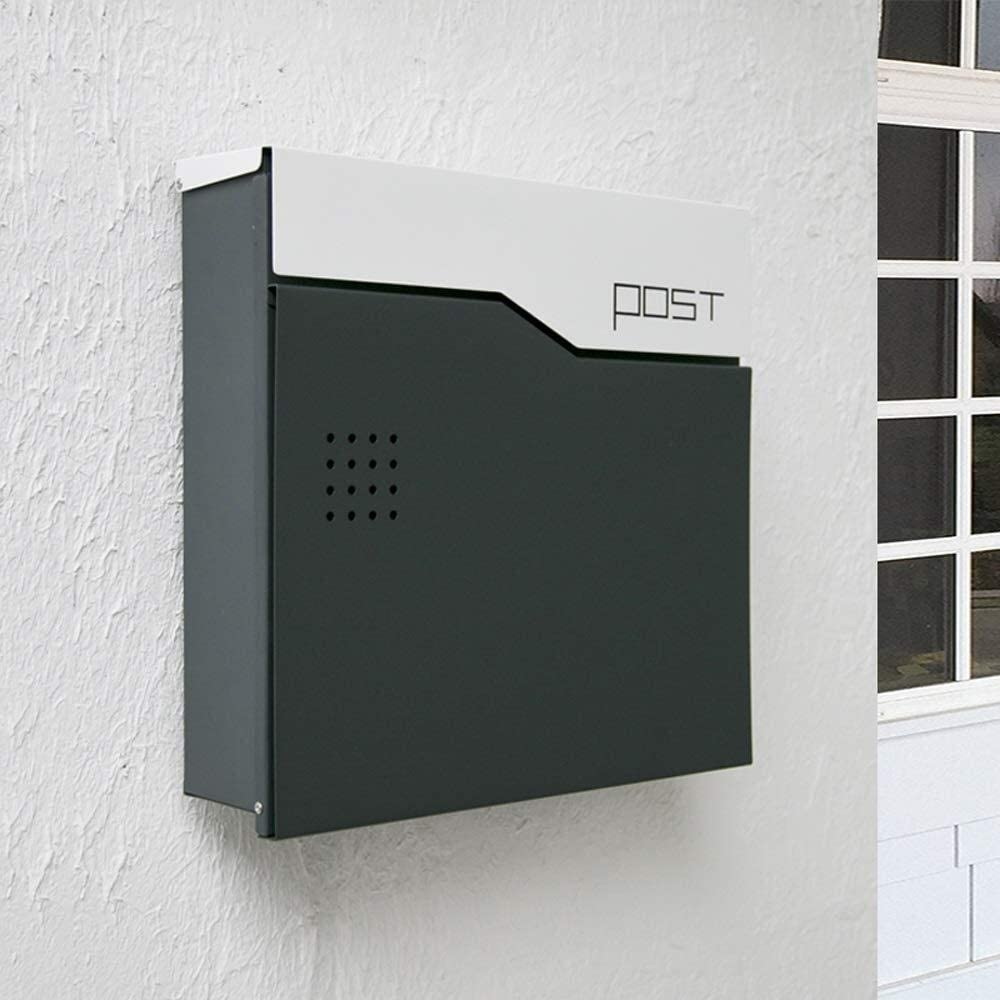 JIU SI Y Wall-Mount Mailboxes Post Box Large Capacity, Creative Waterproof Metal Locking Wall-Mounted Modern Minimalist Villa Outside Indoor Mailbox, 14.5x4.1x14 in Home