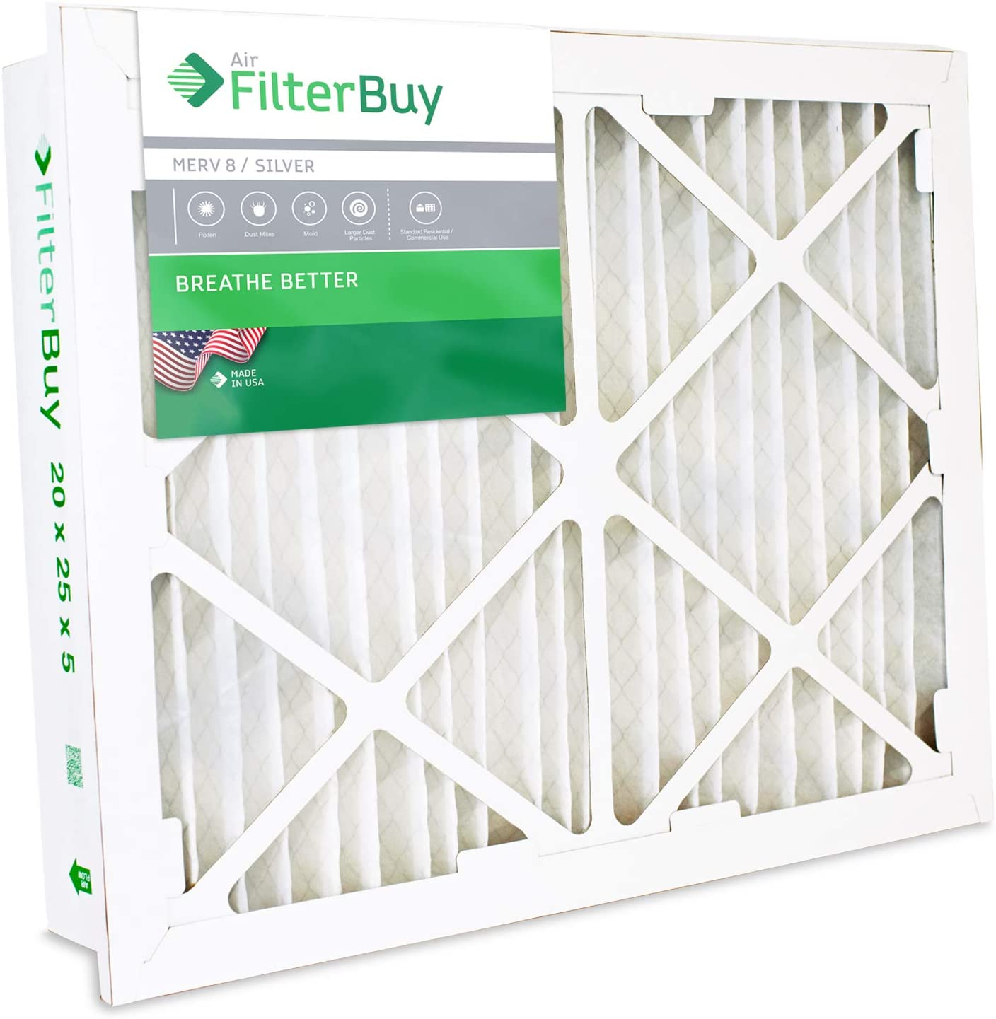 FilterBuy 24x24x5 Grille Honeywell FC40R1078, FC35A1076 Compatible Pleated AC Furnace Air Filters (MERV 8, AFB Silver). 1 Pack.