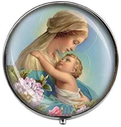 Our Blessed Lady Virgin Mary and Baby Jesus Catholic - Art Photo Pill Box - Charm Pill Box - Glass Candy Box