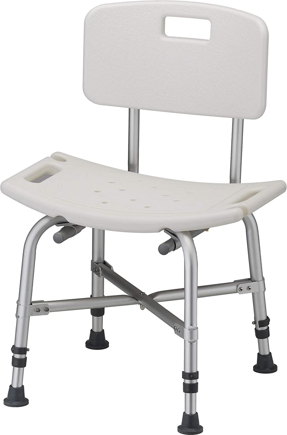 NOVA Medical Products Heavy Duty Shower & Bath Chair with Back, 500 lb. Weight Capacity, Quick & Easy Tools Free Assembly, Lightweight & Seat Height Adjustable, Great for Travel, White