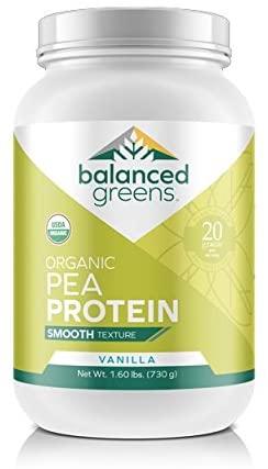 Organic Yellow Pea Protein Powder by balanced greens RAW Vegan Paleo Plant Protein, 20 G per Serving, 27 Servings, Vanilla