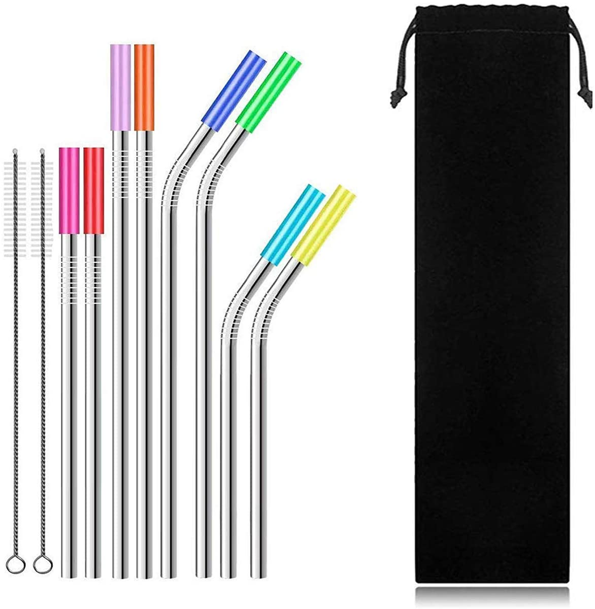 RKINC Set of 8 Stainless Steel Reusable Straws for 30 oz. 20 oz. tumblers, Eco friendly Long Drinking Metal Straws 4 Straight and 4 Curve with Silicone Tip and 2 Brush, 1 Bag (Silver)