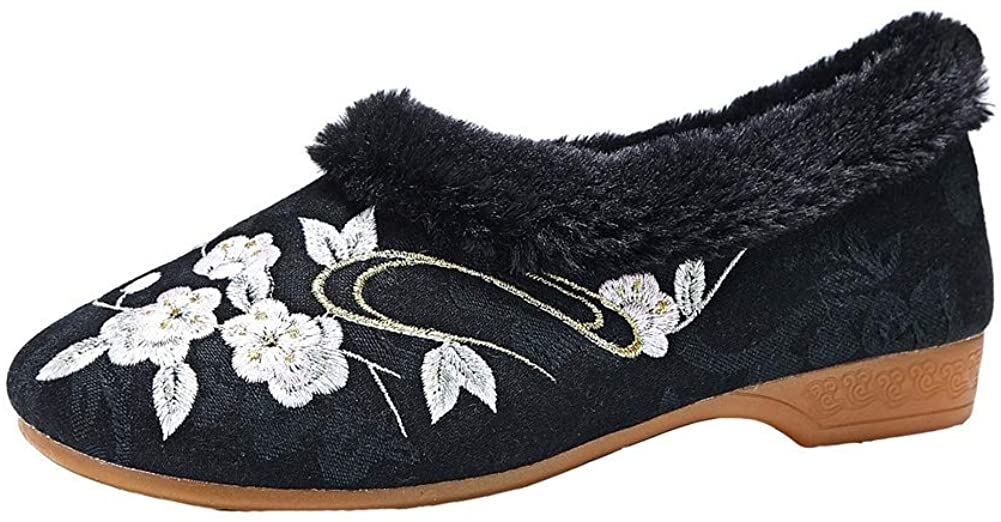 Chickle Womens Embroidered Shoes Fleece Lined Chinese Style Loafer Flats