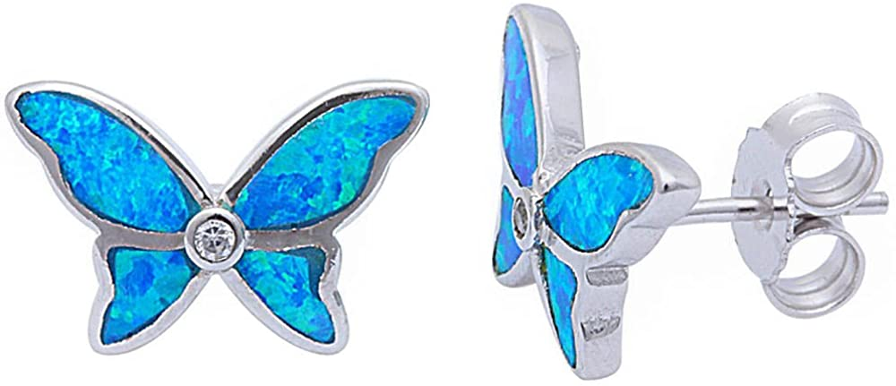 Lab Created Blue Opal & Cz Butterfly .925 Sterling Silver Stud Earrings