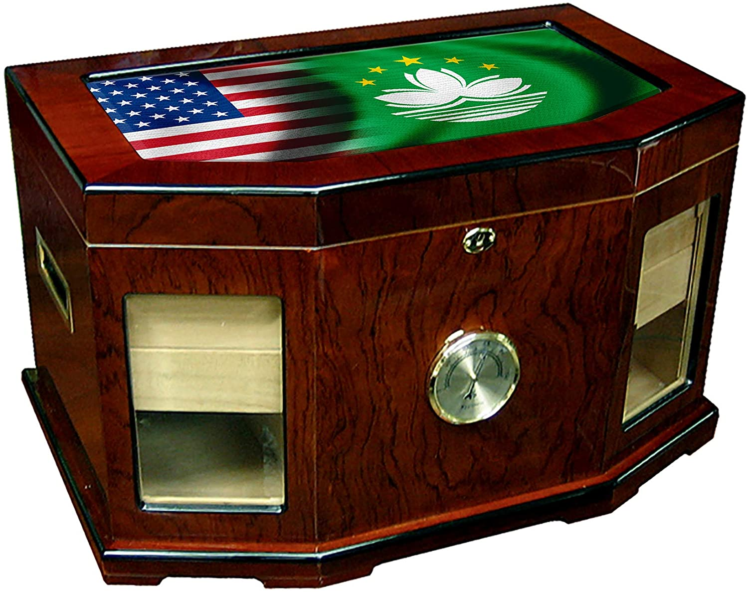 Large Premium Desktop Humidor - Glass Top - Flag of Macao (Macanese) - Waves with USA Flag - 300 Cigar Capacity - Cedar Lined with Two humidifiers & Large Front Mounted Hygrometer.