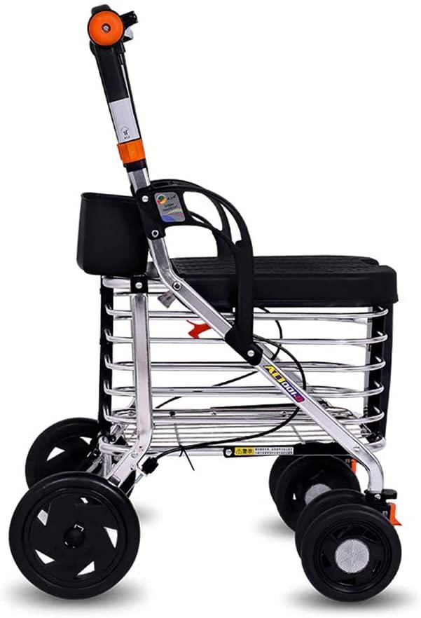 NACHENW 4-Wheel Walker Lightweight Aluminum Folding Walker with Padded Seat Lockable Brake Cart
