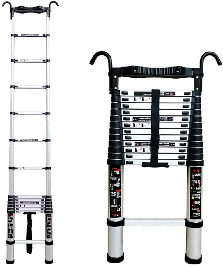 LXX Telescopic Ladder,Aluminum Telescopic Extension Ladder, Telescoping Ladder with Stabilizer and Detachable Hook,for Outdoor Indoor 330 Lb Load/8 Ft,8 Foot,8 Foot