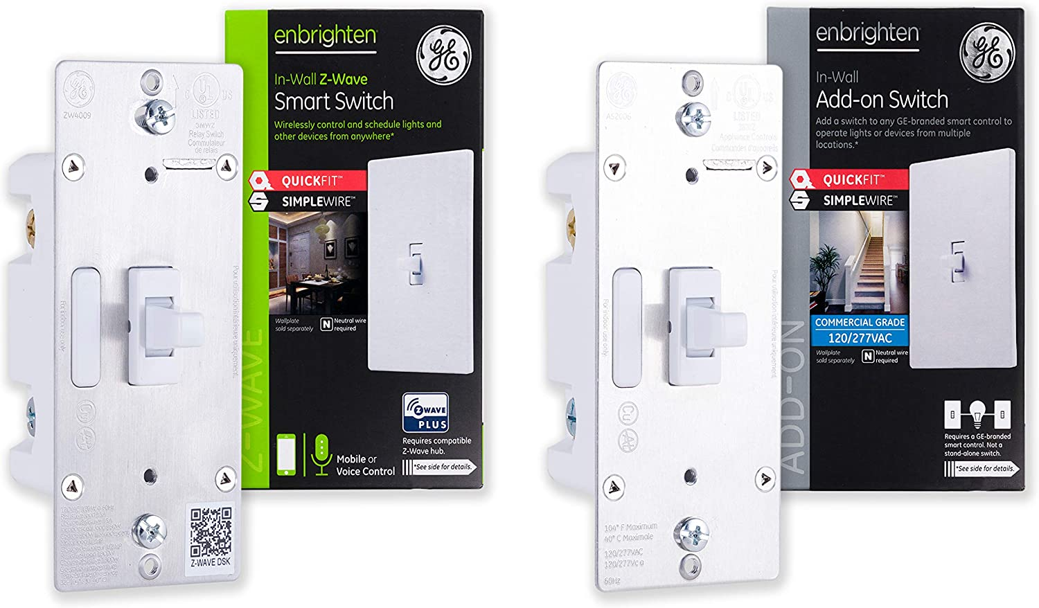 GE Enbrighten Z-Wave Plus Smart Light Switch Kit with QuickFit and SimpleWire, 3-Way Ready, Works with Alexa, Google Assistant, Zwave Hub Required, 1 Switch + 1 Add-On, Toggle, 47864,White 1-pack