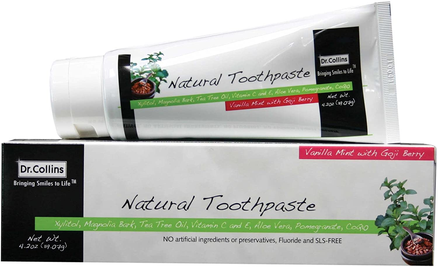 Dr. Collins Natural Toothpaste, 2 Count, Vanilla Mint with Goji