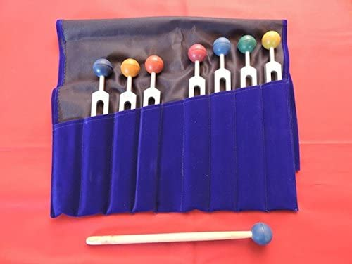 Chakra Tuning Forks Set - 7 Weighted Tuning Forks with Colored Chakra Balls and Free Pouch and Free Activator