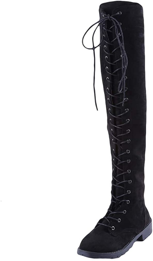Yakoya Sexy Rome Lace Up Boots Flats Over Knee Long Boots Suede Winter Thigh High Boots