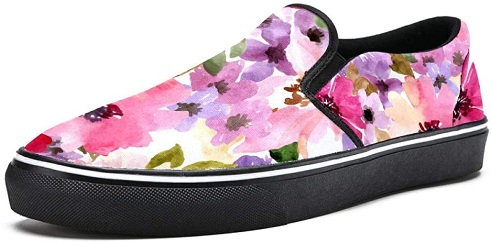 Unicey Watercolor Poppy Flowers Canvas Shoes Lightweight Loafers Shoe for Woman