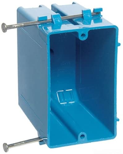 Carlon B122A-UPC Switch/Outlet Box, New Work, 1 Gang, 3-3/4-Inch Length by 2-1/4-Inch Width by 3-1/2-Inch Depth, Blue