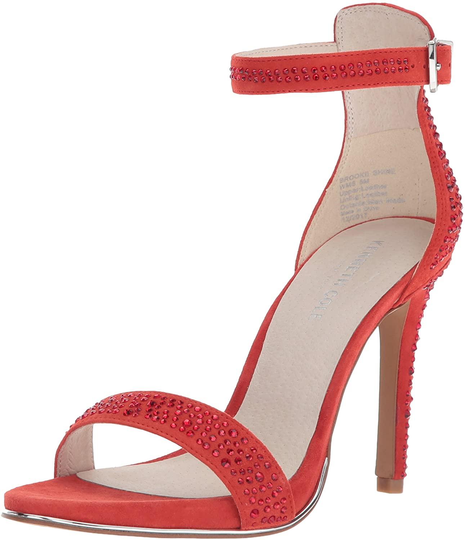 Kenneth Cole New York Women's Brooke Shine Glitzy Stiletto Dress Sandal Heeled, Persimmon, 8.5 M US