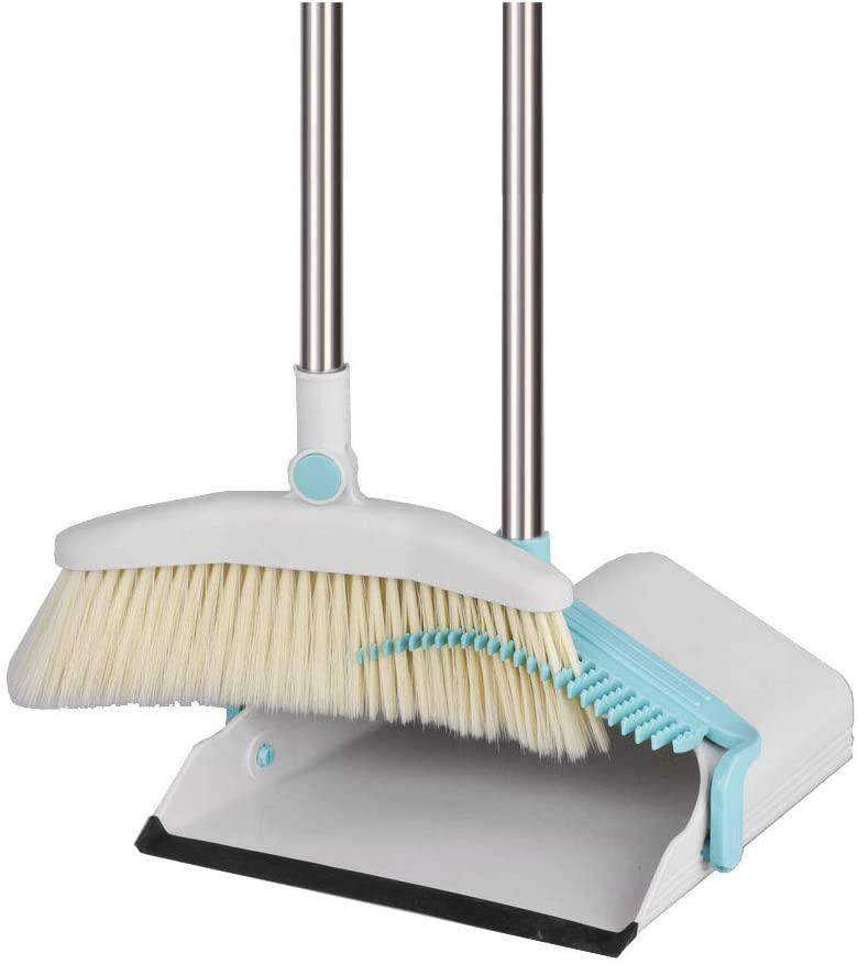 C Type Broom and Dustpan Set,Super Long Handle Lobby Broom,self-Cleaning with Dust Pan Teeth,Ideal for Home,Kitchen and Office Use A 88cm(34in)