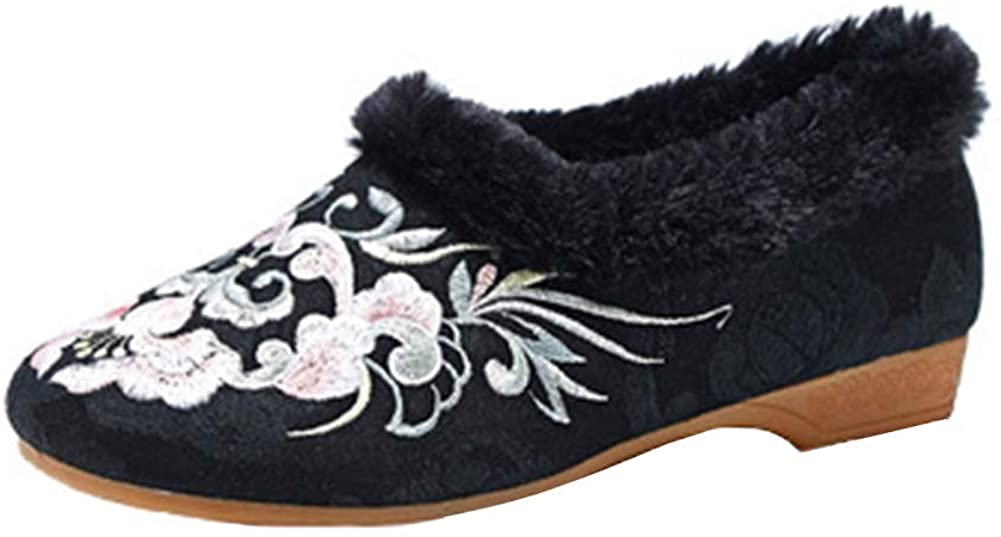 Chickle Women's Faux Fur Lined Chinese Embroidered Shoes Winter Slip On Loafer