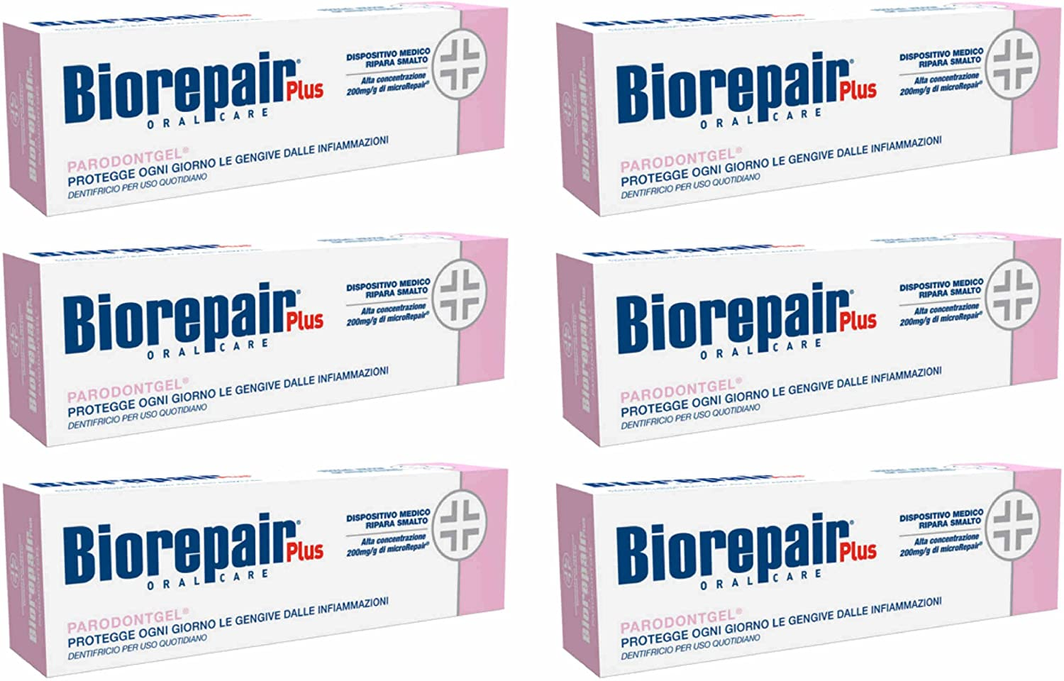 Biorepair Parodontgel® Daily Toothpaste - 2.54 Fluid Ounces (75ml) Tubes (Pack of 6) [ Italian Import ]