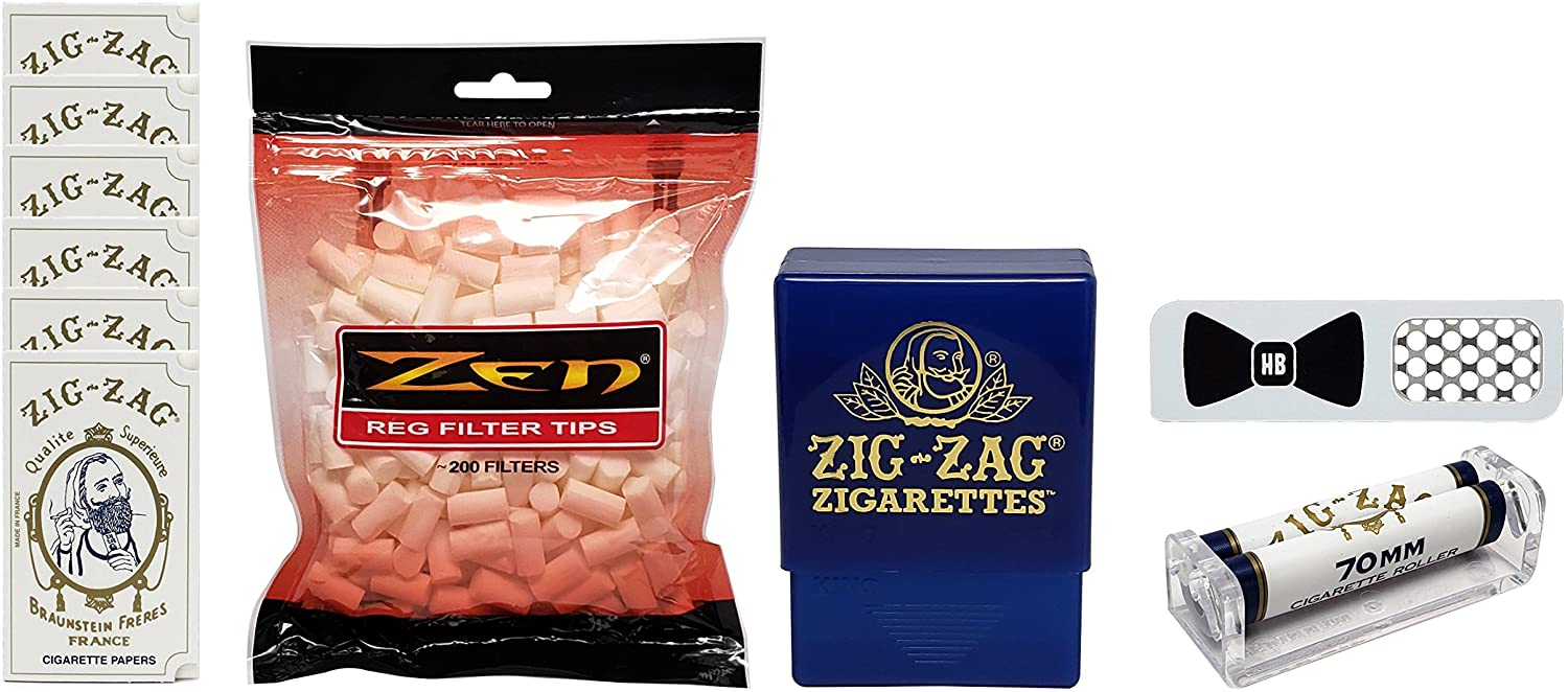 Zig Zag White Rolling Papers (6 Packs) with 70mm Roller, Cigarette Case, Zen Cigarette Filters and Hippie Butler Grinder Card