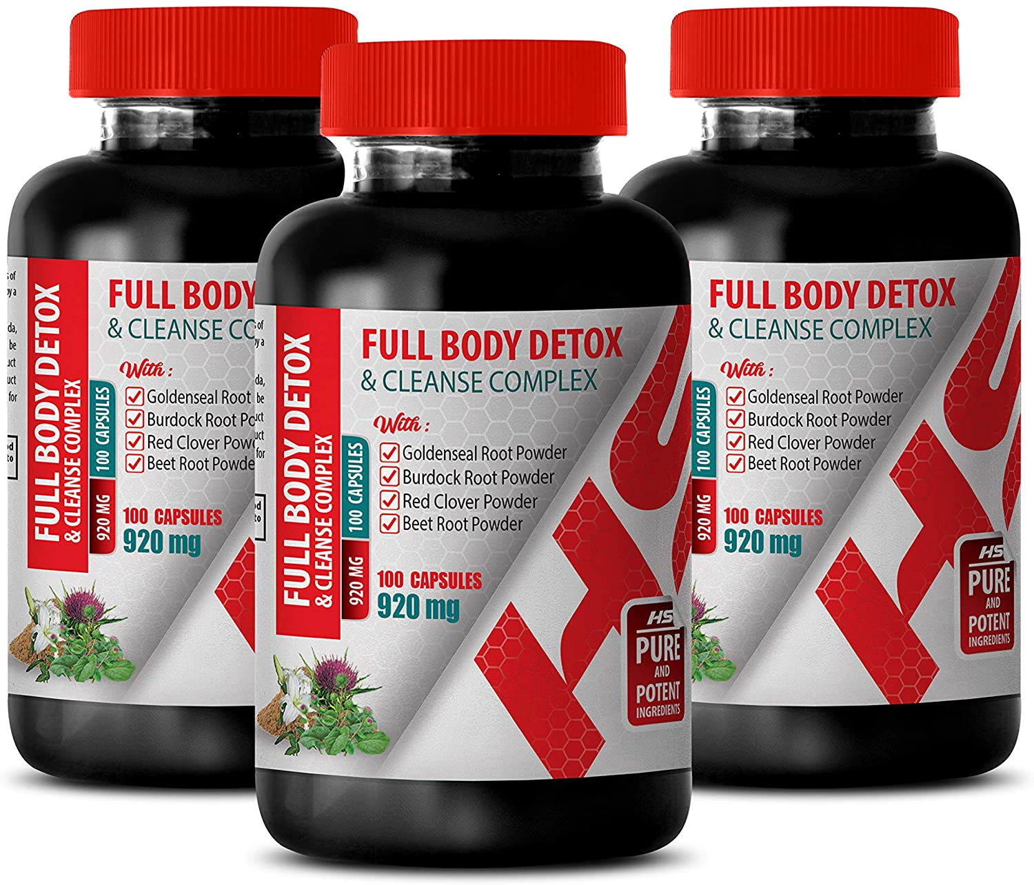 Body Detox and Cleanse for Men - Full Body Detox and Cleanse Complex 920 MG - Burdock Root Milk Thistle - 3 Bottles 300 Capsules