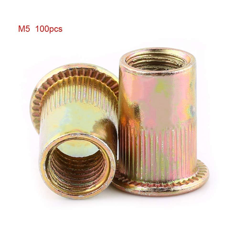 Wendry Rivet Nuts, Internally Threaded and Counterbored Tubular Rivets, M3-M12 Carbon Steel Flat Threaded Rivet Nut, Rivnut Assortment Kit(M5 (100PCS))