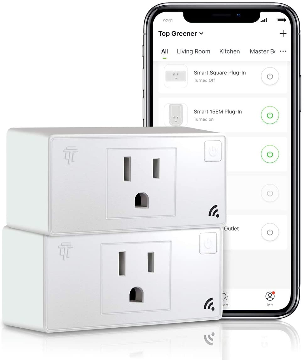 TOPGREENER Smart Mini Wi-Fi Plug with Energy Monitoring, Mini Smart Outlet, Control Lights and Appliances from Anywhere, No Hub Required, Works with Alexa and Google Assistant, TGWF115PQM, 2-Pack