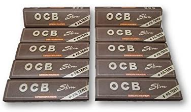 OCB Virgin Unbleached King Size Slim Rolling Papers + Filter Tips Cigarette Papers Smoking Papers Pack of 10 Booklets from Sudesh Enterprises