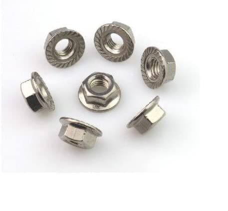 25 pcs M6 x 1.0 mm. Of Metric DIN6923 304 Stainless Steel Hex Flange Nut Hexagon Nut With Flange M3-M12