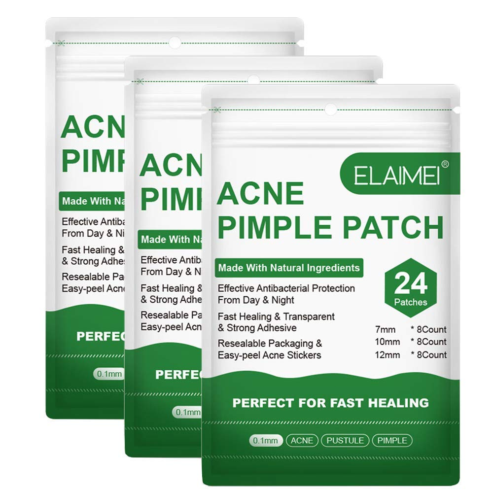 Acne Pimple Patch 3 Pack, Acne Spot Patch, Acne Absorbing Covers, Easy-peel Acne Stickers, 3 Sizes, Use for Face(3 Pack, 72 Patches)