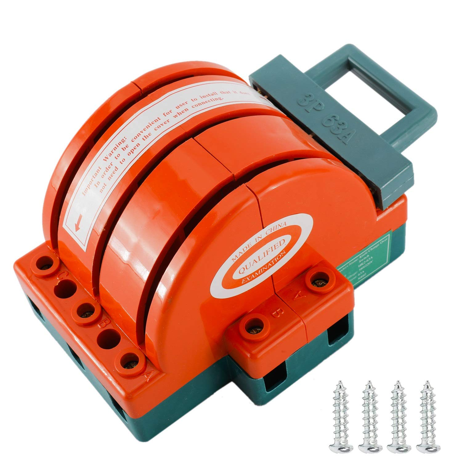 Knife Switch Dual Power Copper Power Disconnector Switch Semicircular Switch, Kaifa (3P 63A)