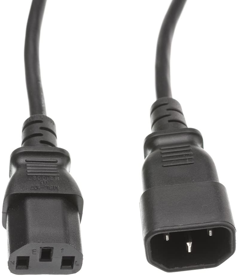 12 feet Computer/Monitor Power Cord, C13 Female to C14 Male Plug, 3 Pin, 18 AWG, SVT, 10 Amp, Power Cable for PC/Monitor, C13 to C14 Power Cord, Black, CableWholesale
