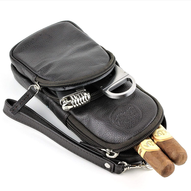 Mrs. Brog Elegant Full Grain Leather Cigar Pouch - Travel Case - Dark Brown