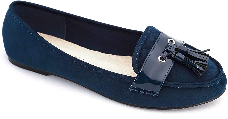 Greatonu Womens Comfort Slip on Tassel Penny Loafers Flat Shoes