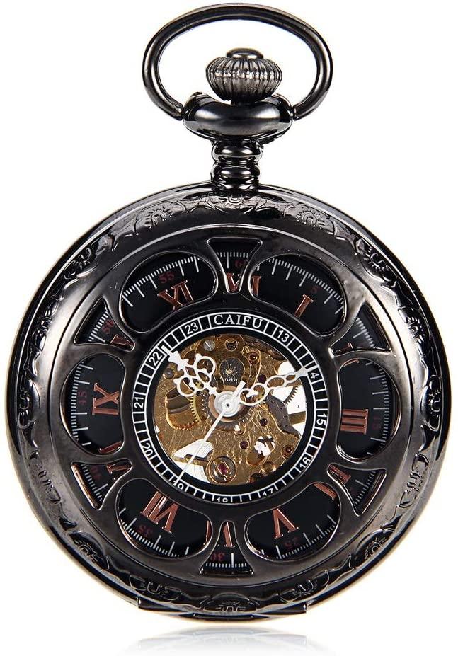 PUEEPDEE Pocket Watch Antique Mechanical Pocket Watch Punk Mechanical Skeleton Pocket Watch with Chain as Valentine's Day Unisex Simple Retro Mechanical Watch Vintage Pocket Watch with Chain