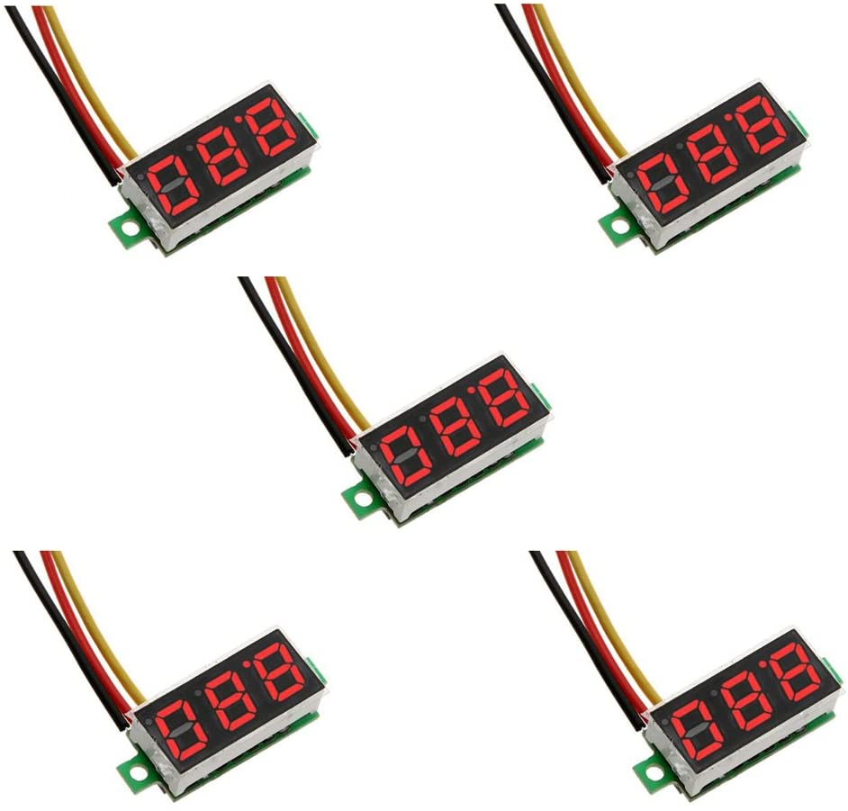 ZkeeShop 5Pcs Mini Digital Voltmeter Mini 0.28 inch Three-Wire DC 0-100V Voltage Gauge Tester LED Display Reverse Protection Function (Red)