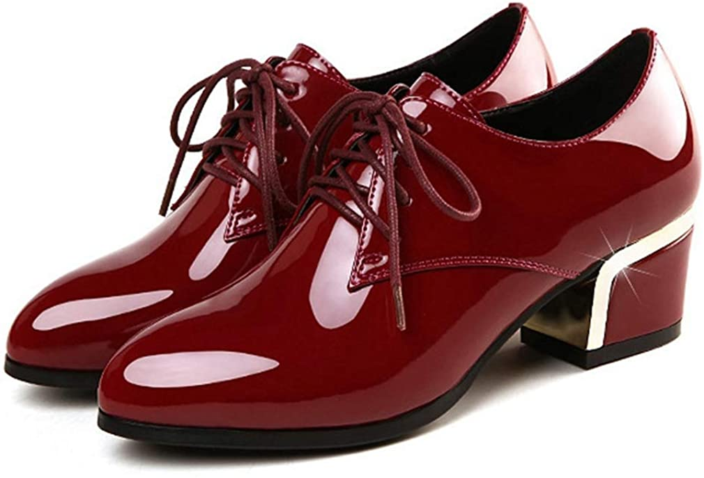 Women Chunky Mid Heel Lace Up Dress Pumps Fashion Patent Leather Oxford Shoes