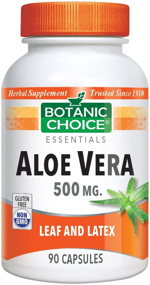 Botanic Choice Aloe Vera Capsules - Adult Daily Supplement - Delivers Crucial Enzymes to Promote Well-Being and Maintain Overall Digestive Wellness 90 Pcs