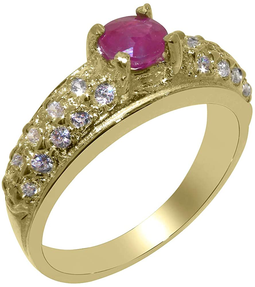 Solid 14k Yellow Gold Natural Ruby & Cubic Zirconia Womens Band Ring - Sizes 4 to 12 Available