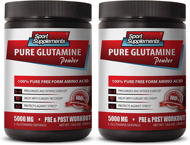 pre Workout for Men - Pure GLUTAMINE Powder 5000MG - PRE & Post Workout - glutamine Powder USA - 2 Cans 600 Grams