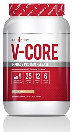 Complete Nutrition Ignite Series V-Core Protein Powder, Vanilla, Whey Protein Concentrate, Milk Protein Concentrate, Casein Protein, 25g Protein, 12g EAAs, 6g BCAAs, 2 lb Tub (23 Servings)