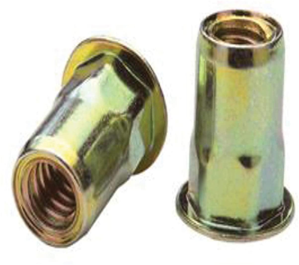 AEHS8-420-260B, RIVETNUT, 1/4-20 (.165-.260 GR) Semi-Hex Body, Low PRO HD, CLSD End, Steel, Zinc YLW (100 PK)