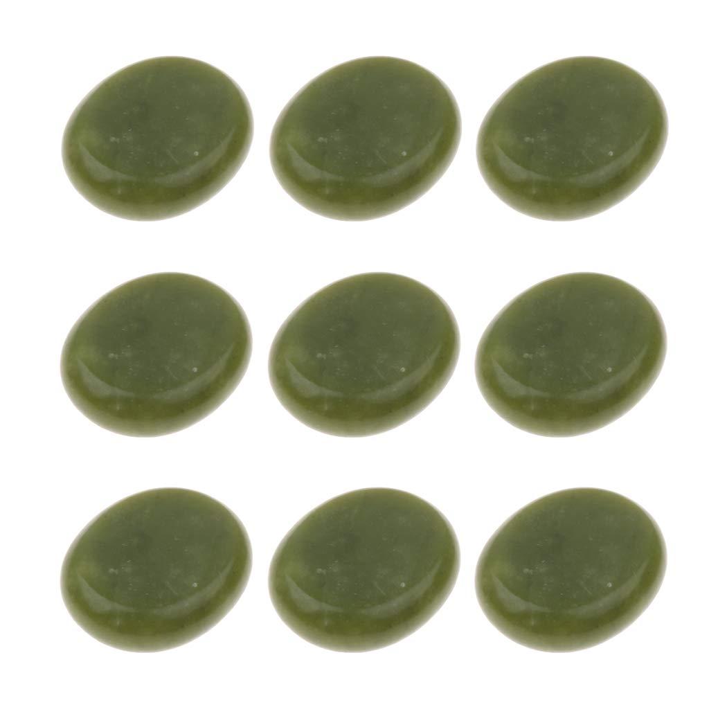 SDENSHI 9Pcs Professional Large Massage Stone, Hot Rocks Stones, Olive Jade Stone SPA Hot Massage Stones, 5 x 6cm