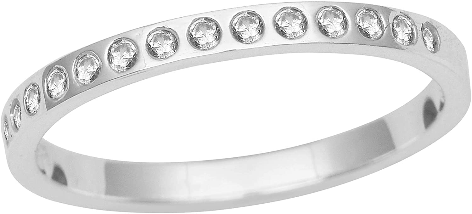 Half Eternity Natural Zircon 925 Sterling Silver Women Promise Gift Ring