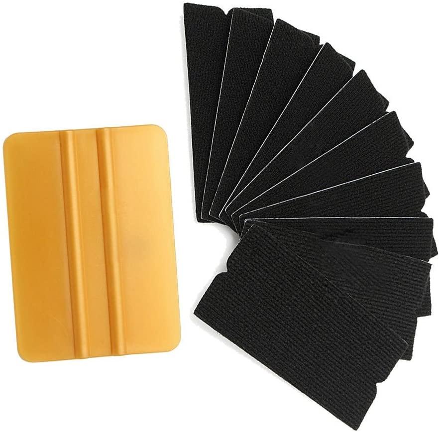 OKOKMALL US--10pcs Gold Squeegee Applicator Tools Replaceable Felt Edge Vinyl Film Wrap Kits
