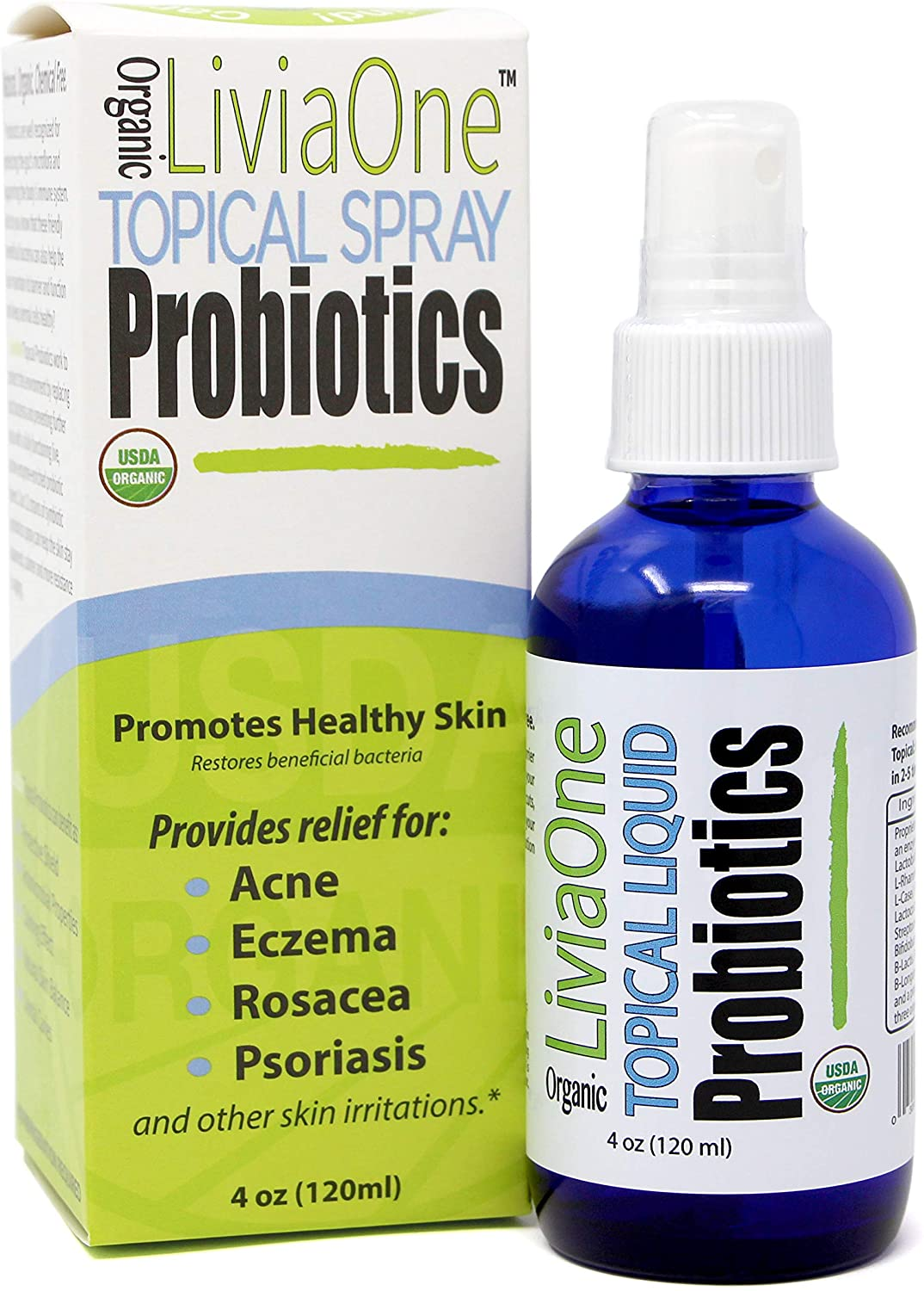 LiviaOne Topical Liquid Probiotics, USDA Certified Organic Probiotics - Gluten & Allergen Free. NO Refrigeration Required - LiviaOne Probiotics are Vegan, Non GMO and RAW