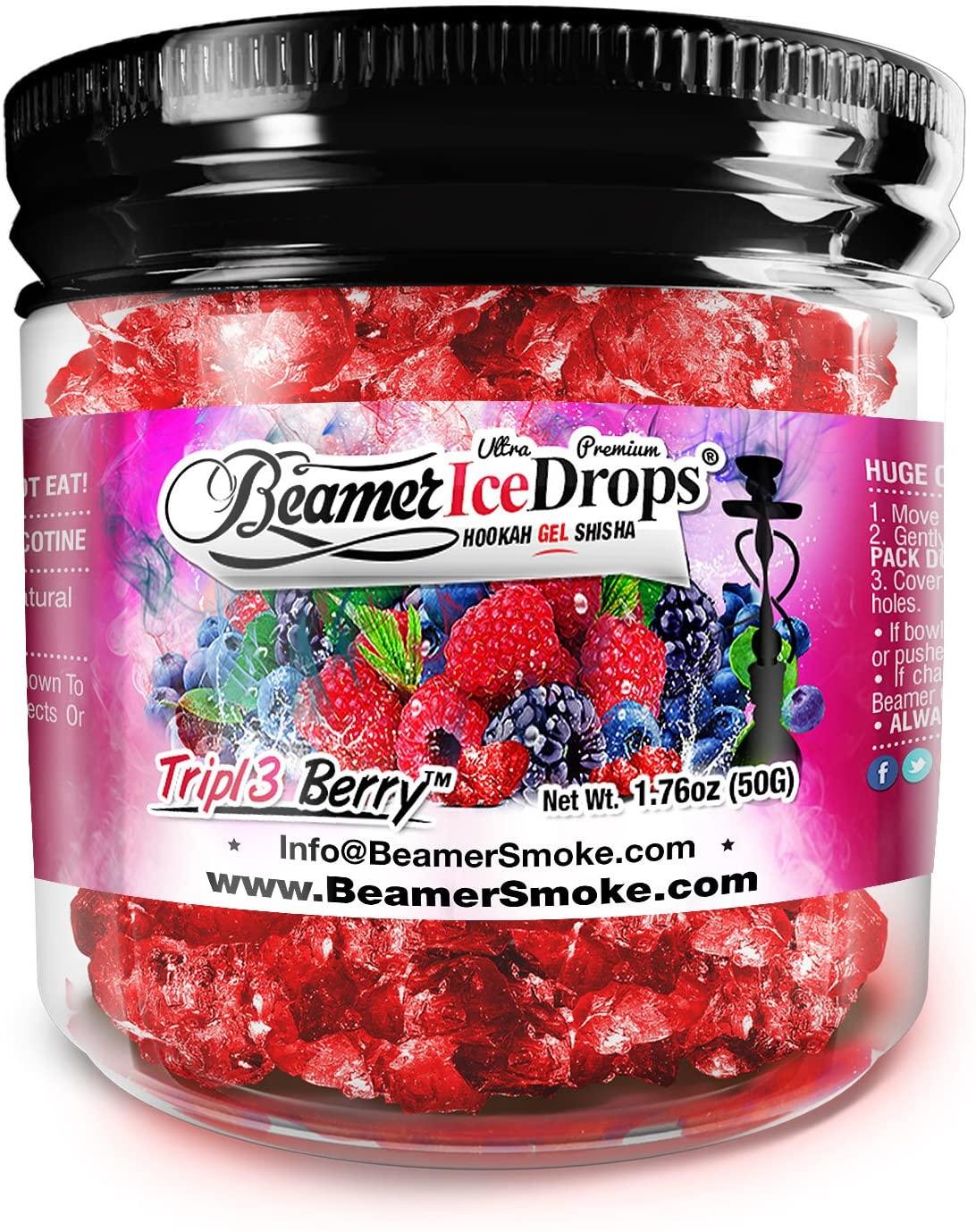 Triple Berry 50G Ultra Premium Beamer Ice Drops ¨ Hookah Shisha Smoking Gel. Each bowl lasts 2-4 Hours! USA Made, Huge Clouds, Amazing Taste! Better Taste & Clouds than Tobacco! 2-3 bowls per Jar!