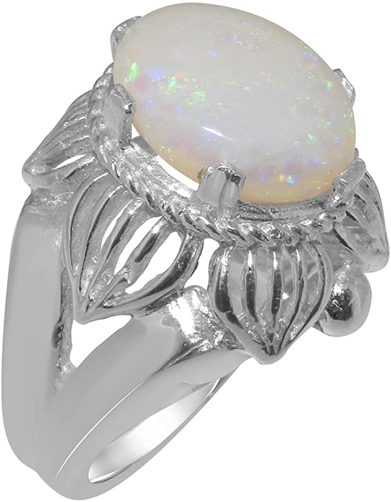 925 Sterling Silver Natural Opal Womens Solitaire Ring - Sizes 4 to 12 Available