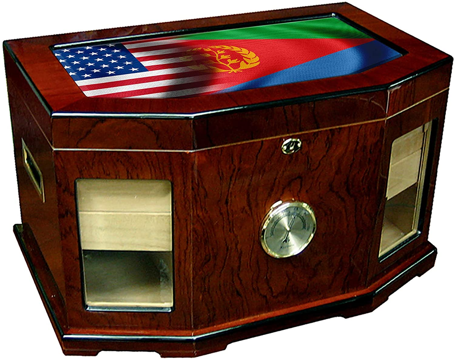Large Premium Desktop Humidor - Glass Top - Flag of Eritrea (Eritrean) - Waves with USA Flag - 300 Cigar Capacity - Cedar Lined with Two humidifiers & Large Front Mounted Hygrometer.
