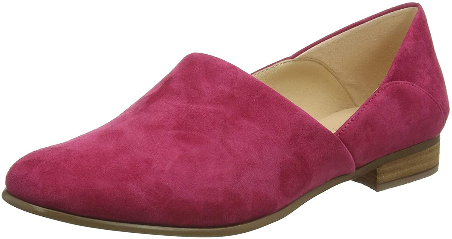 Clarks Women's Pure Tone Loafers, Green (Fuchsia Suede Fuchsia Suede), 6 UK