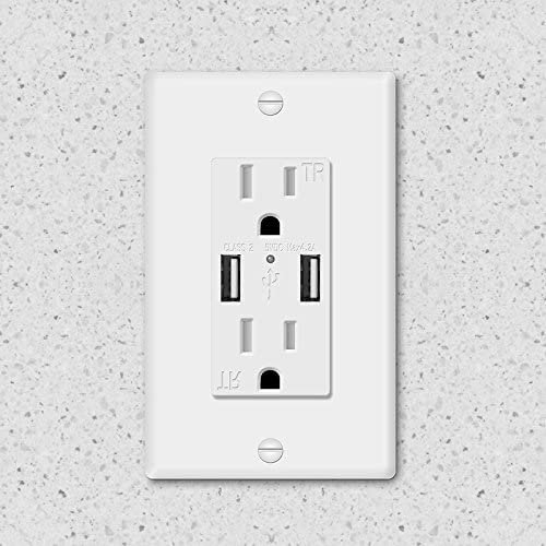 KEYGMA USB Wall Outlet with USB Ports Fast Charge, 4.2A USB Outlet for iPhone, Samsung, LG, HTC, BlackBerry and Other Smart Phones, Wallplate Included, ETL Listed, White