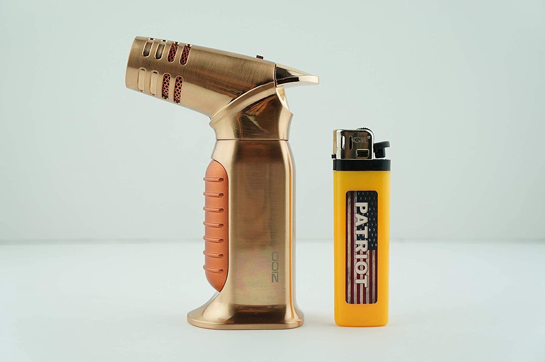 2 Items Zico (Original) Ergo Refillable Butane Adjustable Quad Jet Torch Flame Lighter with Patriot Lighter